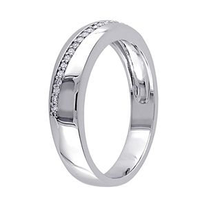 Stella Grace Sterling Silver 1/10 Carat T.W. Diamond Men's Ring