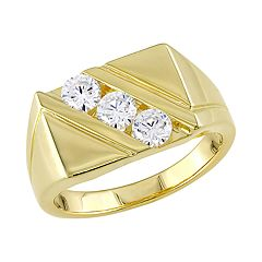 Stella Grace Gold Over Silver Cubic Zirconia Men's Ring