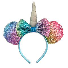Disney's Minnie Mouse Girls Rainbow Sequin Unicorn Ears & Bow Headband