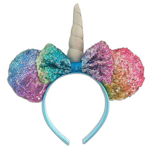 Disney s Minnie Mouse Girls Rainbow Sequin Unicorn Ears   Bow Headband 86b13ac0a32