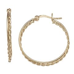 Primavera 24k Gold Over Sterling Silver Twisted Hoop Earrings