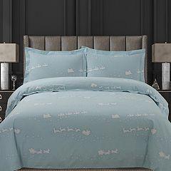 Tribeca Living Alpine Knit Flannel Printed Oversized Duvet Cover Set
