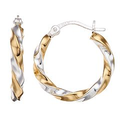 Primavera Two-Tone 24k Gold and Sterling Silver Twisted Hoop Earrings