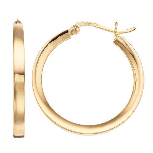 10KT GOLD WAVY FLAT TUBE HOOP EARRINGS HOOP EARRINGS