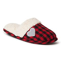 Women's Dearfoams Plaid Family Holiday Scuff Slippers