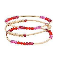 LC Lauren Conrad Gold Tone, Pink & Red Bead Bangle Bracelet Set