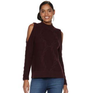 Women's Jennifer Lopez Cold-Shoulder Mockneck Sweater