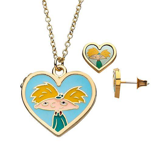 Nickelodeon Hey Arnold! Heart Locket Necklace & Earring Set
