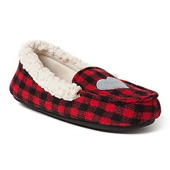 bc0244d7eb Girls  Dearfoams Plaid Family Holiday Moccasin Slippers