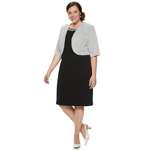 Plus Size Maya Brooke Striped Jacket & Dress Set