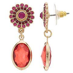 LC Lauren Conrad Red Simulated Crystal Drop Earrings