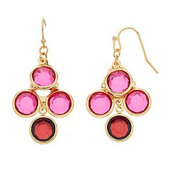 LC Lauren Conrad Gold Tone Red & Pink Simulated Crystal Nickel Free Drop Earrings