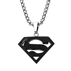 DC Comics Superman Black Stainless Steel Logo Pendant Necklace