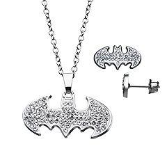 DC Comics Batgirl Cubic Zirconia Logo Pendant & Earring Set