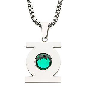 DC Comics Green Lantern Stainless Steel Green Cubic Zirconia Pendant Necklace