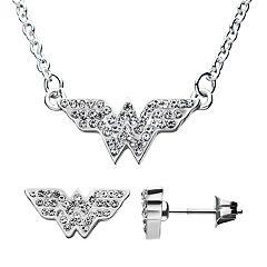 DC Comics Wonder Woman Cubic Zirconia Logo Pendant & Stud Earring Set