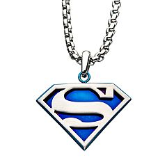 DC Comics Superman Blue Mirror Back Stainless Steel Logo Pendant