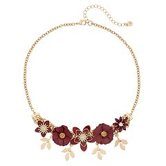 LC Lauren Conrad Gold Tone Red Flower & Leaf Motif Collar Necklace