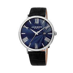 Akribos XXIV Men's Leather Watch - AK1041SSBU