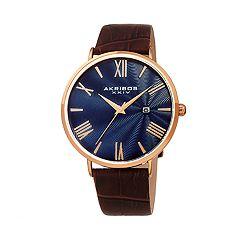Akribos XXIV Men's Leather Watch - AK1041RGBU