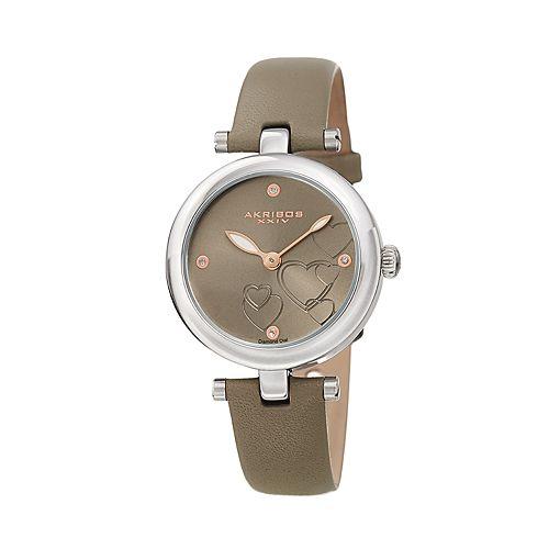 Akribos XXIV Women's Diamond Accent Leather Watch - AK1044GY