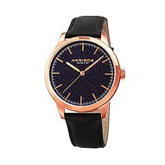 Akribos XXIV Men's Leather Watch - AK937BKBU