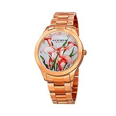 Akribos XXIV Women's Crystal Accent Lilies Stainless Steel Watch - AK953FRG