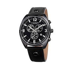 Akribos XXIV Men's Leather Chronograph Watch - AK969BK