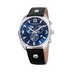 Akribos XXIV Men's Leather Chronograph Watch - AK969BKBU