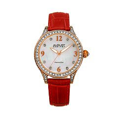 August Steiner Women's Red Leather & Crystal Watch