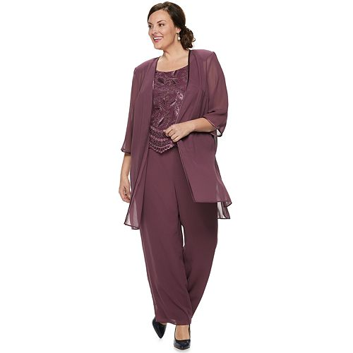 purchase authentic coupon code various design Plus Size Le Bos Embroidered Duster 3-Piece Pants Set