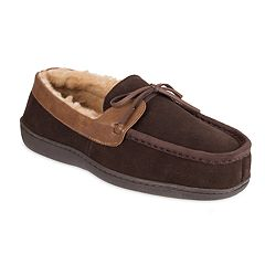 Men's Chaps Wide Width Suede Moccasin Slippers