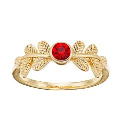 LC Lauren Conrad Gold Tone Red Simulated Stone Leaf Motif Ring