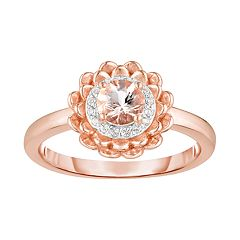 14k Rose Gold Over Silver Morganite & White Topaz Flower Ring
