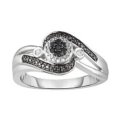 Sterling Silver 1/10 Carat T.W. Black & White Diamond Bypass Ring