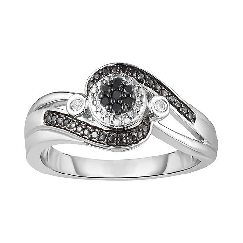 254895834 Sterling Silver 1/10 Carat T.W. Black & White Diamond Bypass Ring