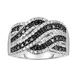 Sterling Silver 1/2 Carat T.W. Black & White Diamond Twist Ring