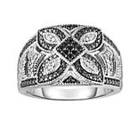 Sterling Silver 1/10 Carat T.W. Black & White Diamond Flower Ring