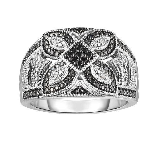 Sterling Silver 1/10 Carat T.W. Black & White Diamond Flower Ring