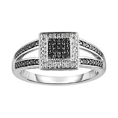 Sterling Silver 1/10 Carat T.W. Black Diamond Square Frame Ring