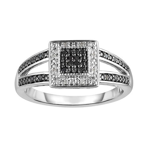 Sterling Silver 1 10 Carat T W Black Diamond Square Frame Ring
