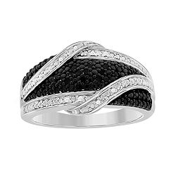 Sterling Silver 1/10 Carat T.W. Black & White Diamond Wrap Ring