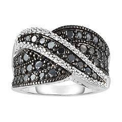 Sterling Silver 1 1/4 Carat T.W. Black Diamond Overlap Ring