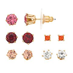 LC Lauren Conrad Gold Tone Pink & Red Simulated Stone Nickel Free Stud Earring Set