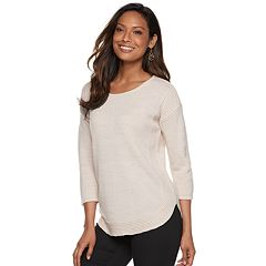 Women's Croft & Barrow® Pintuck Curved Hem Sweater