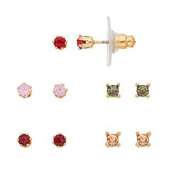 LC Lauren Conrad Gold Tone Simulated Stone Nickel Free Stud Earring Set