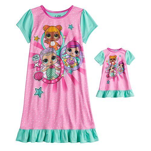 8b673b2b9493 Girls 4-10 L.O.L. Surprise! Ruffled Dorm Nightgown   Matching Doll Gown
