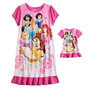 Disney Princess Girl 4-8 Dorn Nightgown & Matching Doll Nightgown