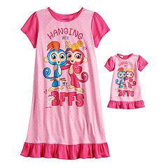 Girls 4-10 Fingerlings Knee-Length Nightgown & Doll Nightgown