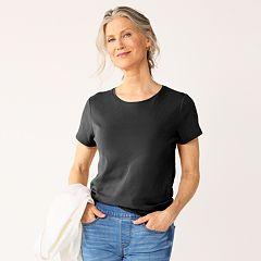 dc46d530bba63 Womens Black Crewneck T-Shirts Tops   Tees - Tops
